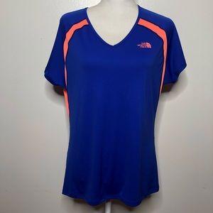 North Face purple orange athletic V-neck shirt XL